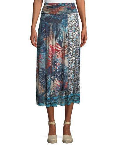 Fuzzi Jungle-Print Patch Long A-Line Skirt In Sardinia