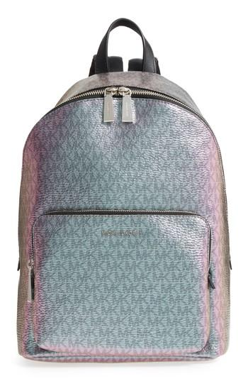 114b1fbe3619 Michael Kors Wythe Large Faux Leather Backpack - Blue In Pale Blue  Nickel