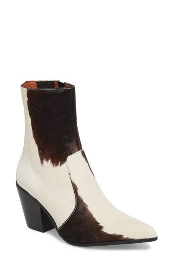 6f87c8c5b699 Jeffrey Campbell Ace-F Genuine Calf Hair Bootie In White/ Black Leather