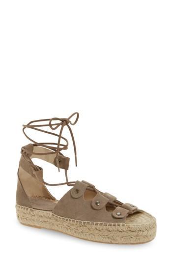 23b41af89b6 Soludos Ghillie Platform Sandal In Dove Grey Suede