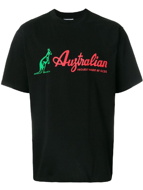 Gcds Australian Printed Cotton Jersey T-shirt In Black