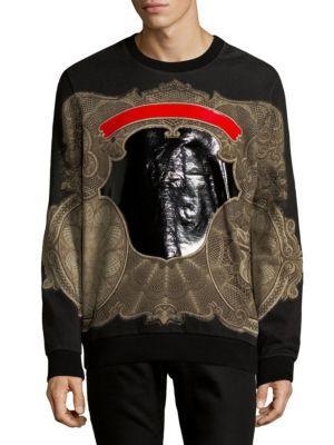 Blank Shield Cotton Sweatshirt in Black
