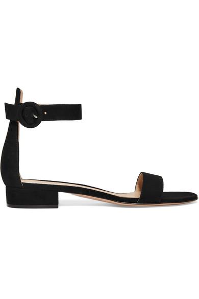 Gianvito Rossi Portofino 20 Block-Heel Suede Sandals In Black