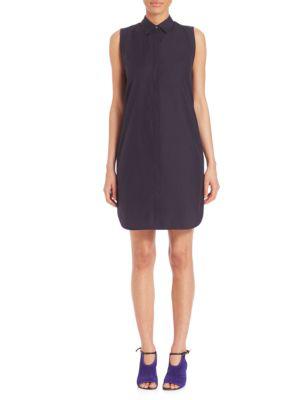 3.1 Phillip Lim Woman Cutout Cotton-poplin Mini Dress Midnight Blue In Dark Blue