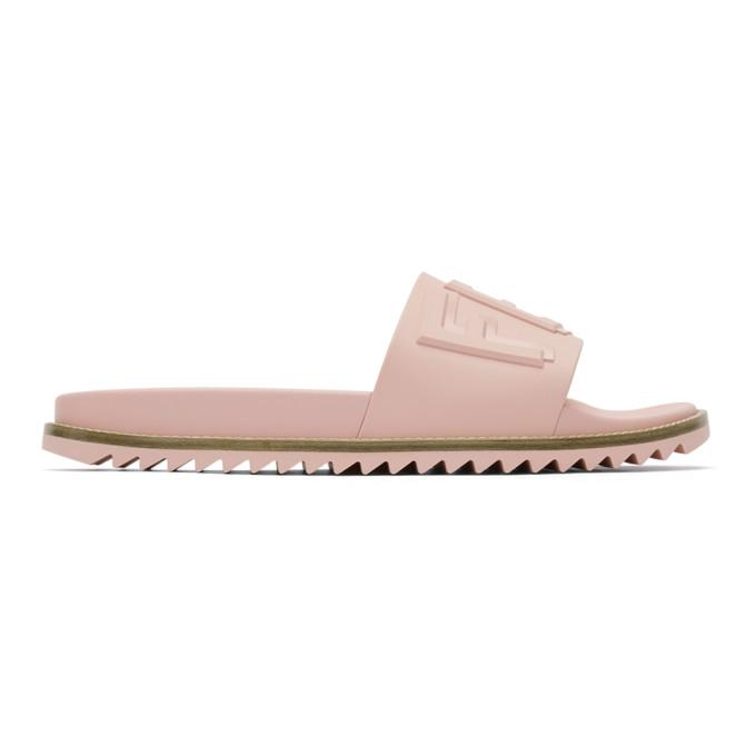 cd2d43867b489 Fendi Ssense Exclusive Pink Rubber Vocabulary Slides In F0H0H