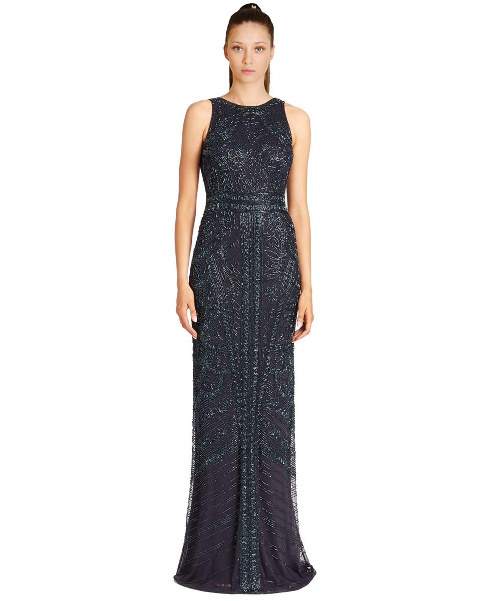 Theia Floral Sequined Sleeveless Gown In Blue