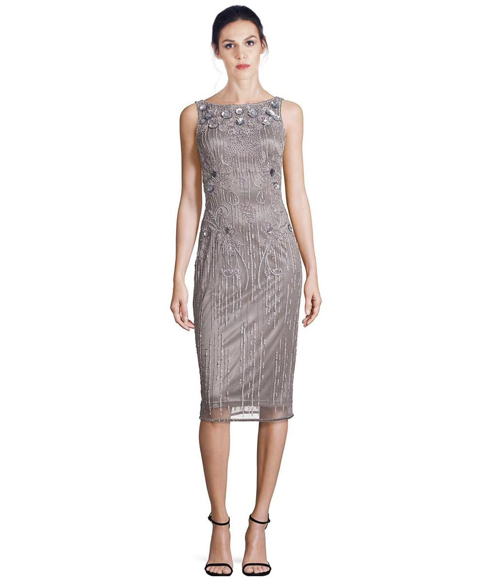 Theia Embellished Floral Sequin Dress In Silver