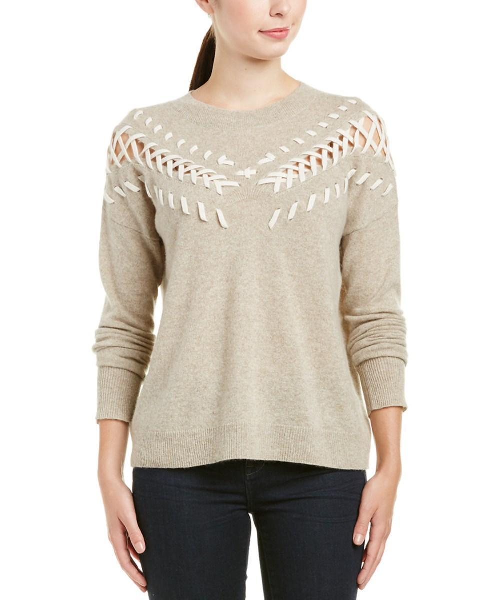 White + Warren Cashmere Sweater In Tan