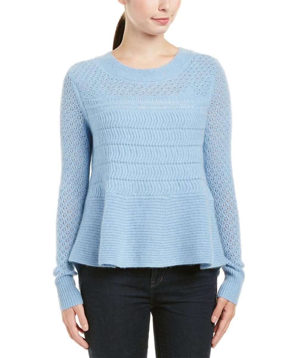 White + Warren Cashmere Sweater In Blue Multi