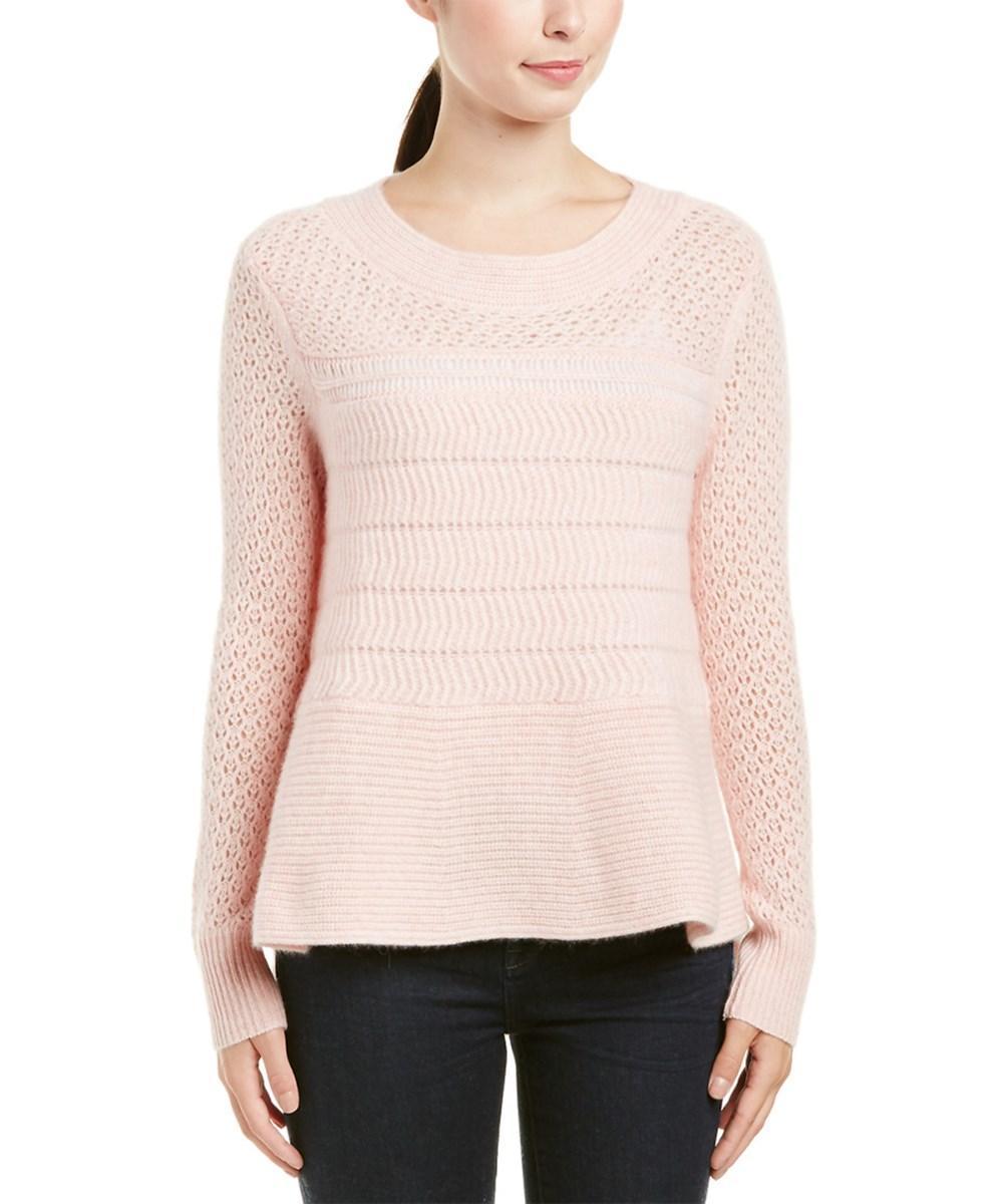 White + Warren Cashmere Sweater In Pink