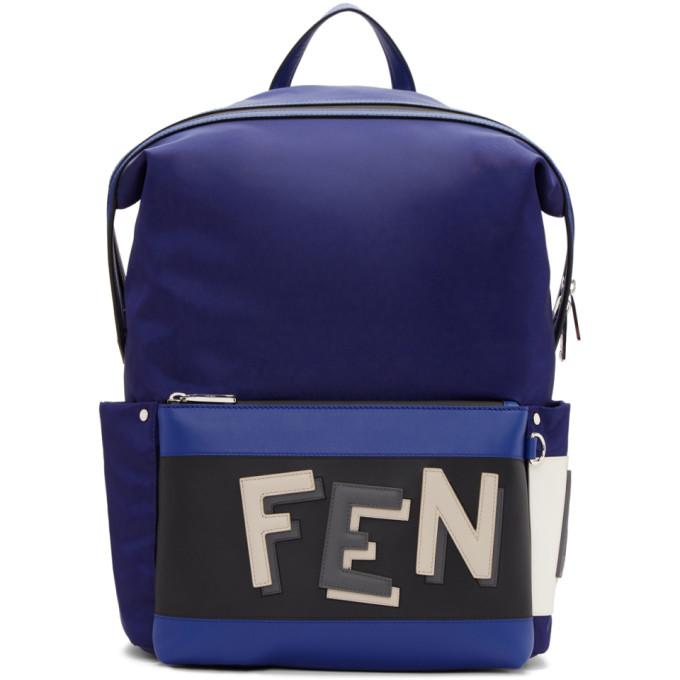 Fendi Blue & Navy Nylon ' Vocabulary' Backpack
