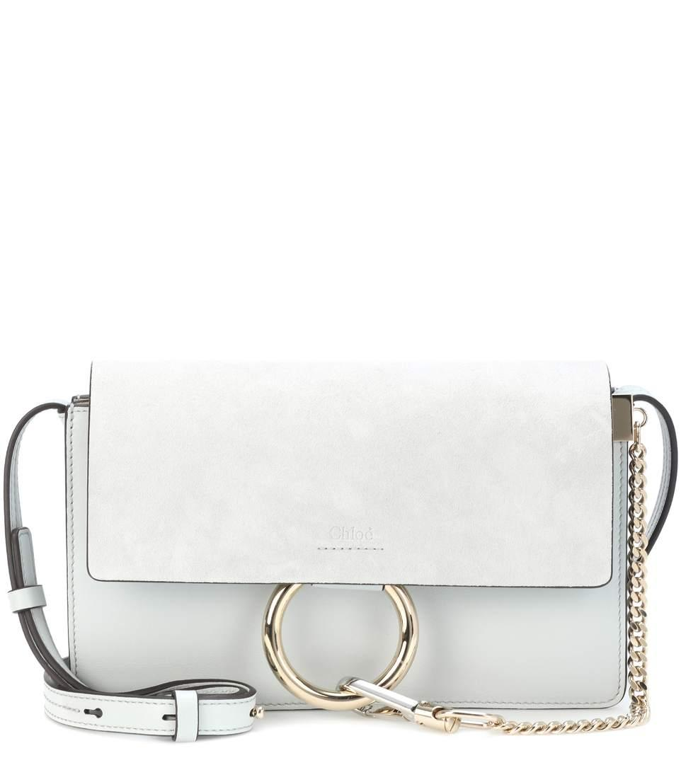 ChloÉ Faye Small Leather Shoulder Bag In Grey