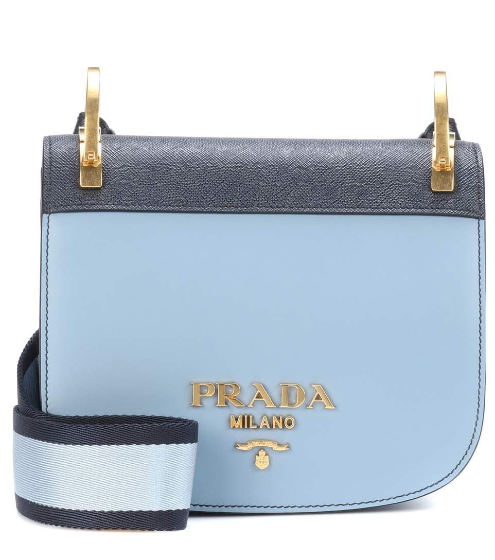 Prada PionniÈre Leather Shoulder Bag In Blue