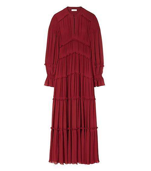 Tory Burch Stella Ruffled Pleated Chiffon Maxi Dress