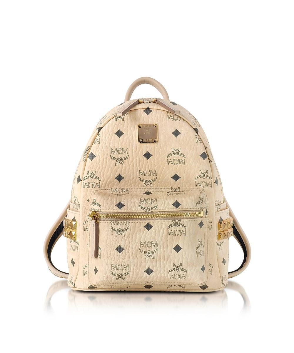 Mcm Women's  Beige Pvc Backpack In Brown