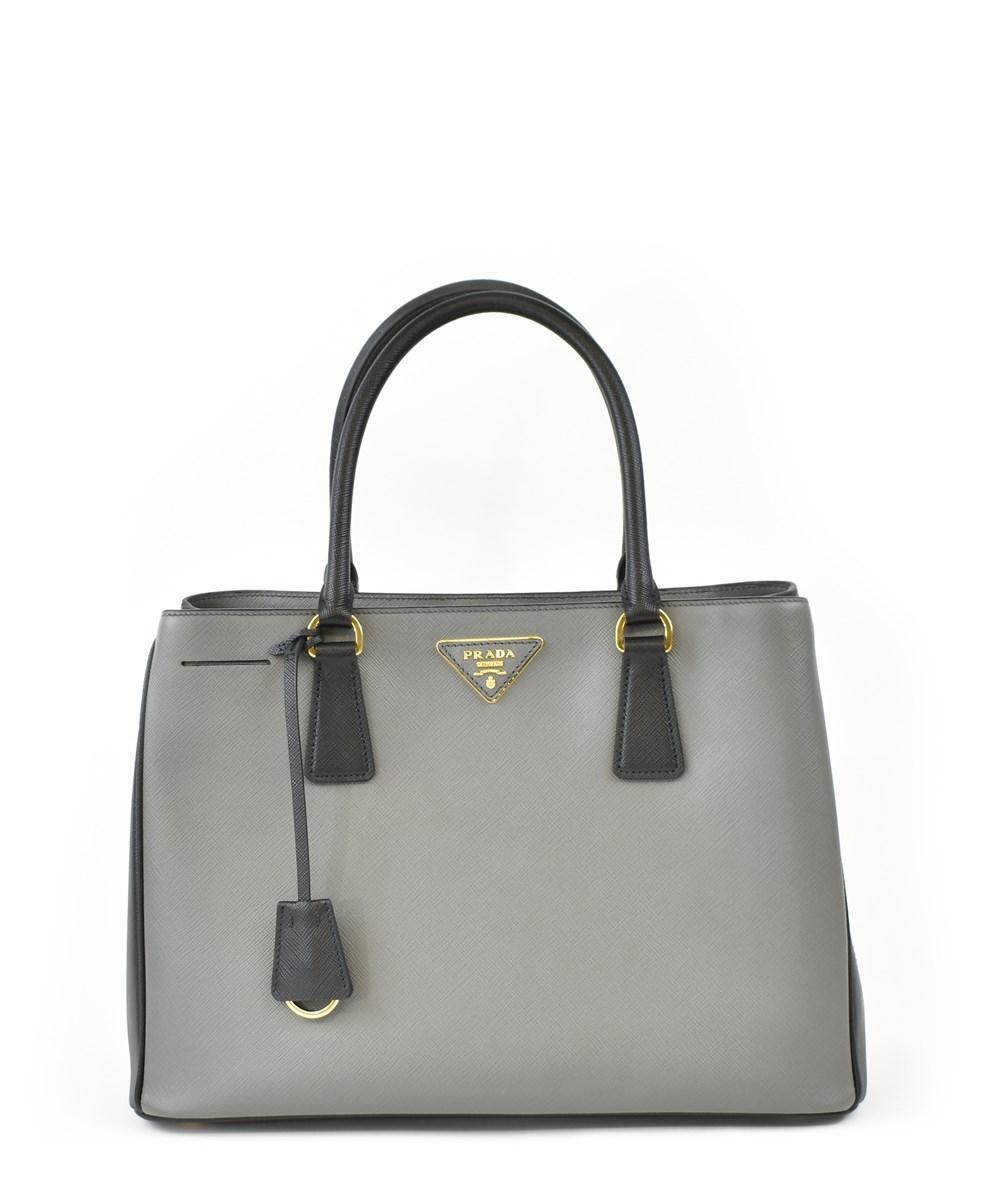 Prada Galleria Saffiano Leather Handbag In Mercury/black