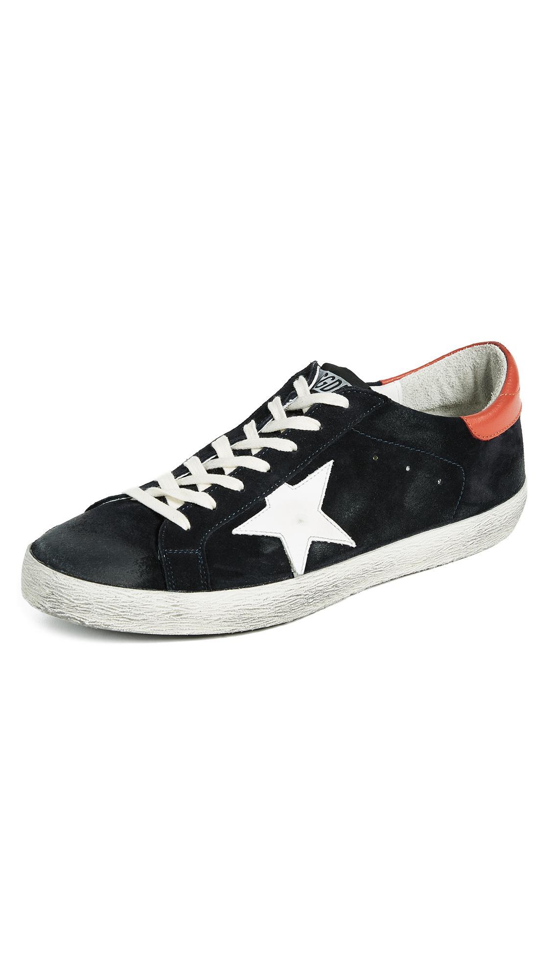 Golden Goose Superstar Sneakers In Blue/suede/orange