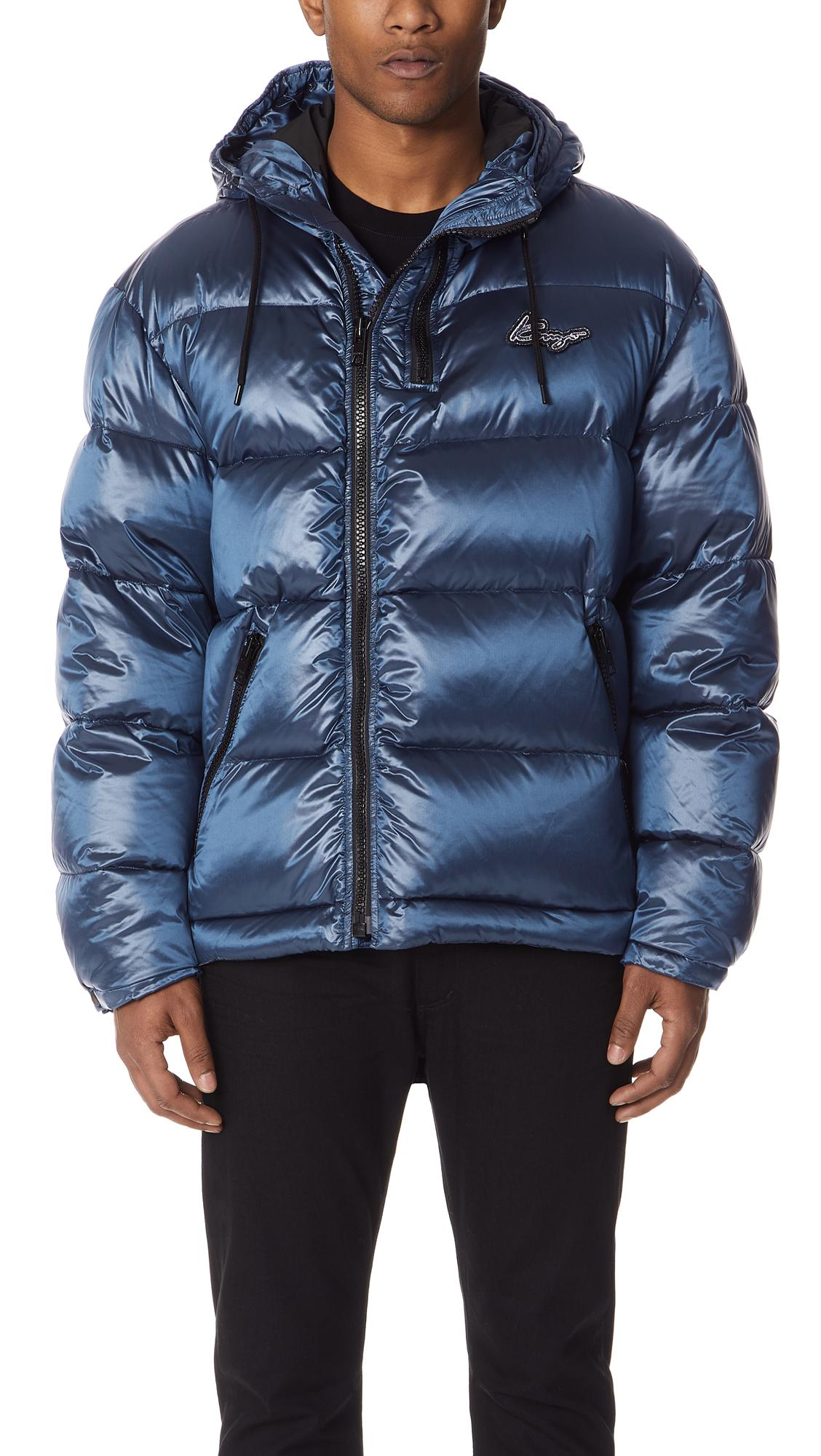 Kenzo Down Jacket With Zips In Blue