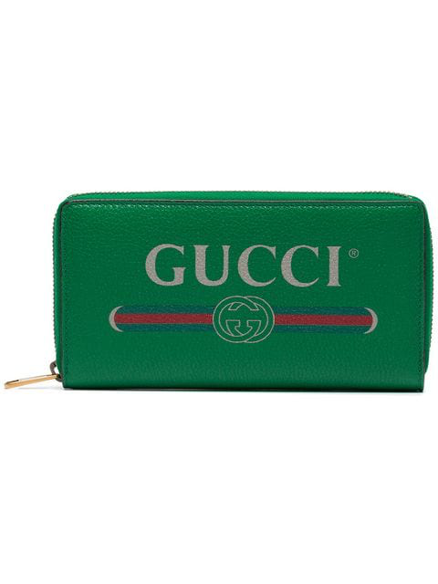Gucci Green Logo Leather Zip Around Wallet In 8830 Green