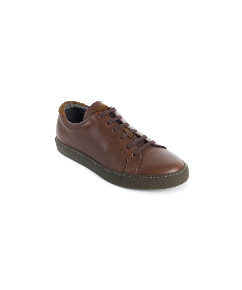 Brunello Cucinelli Men's Brown Leather Lace-up Sneakers