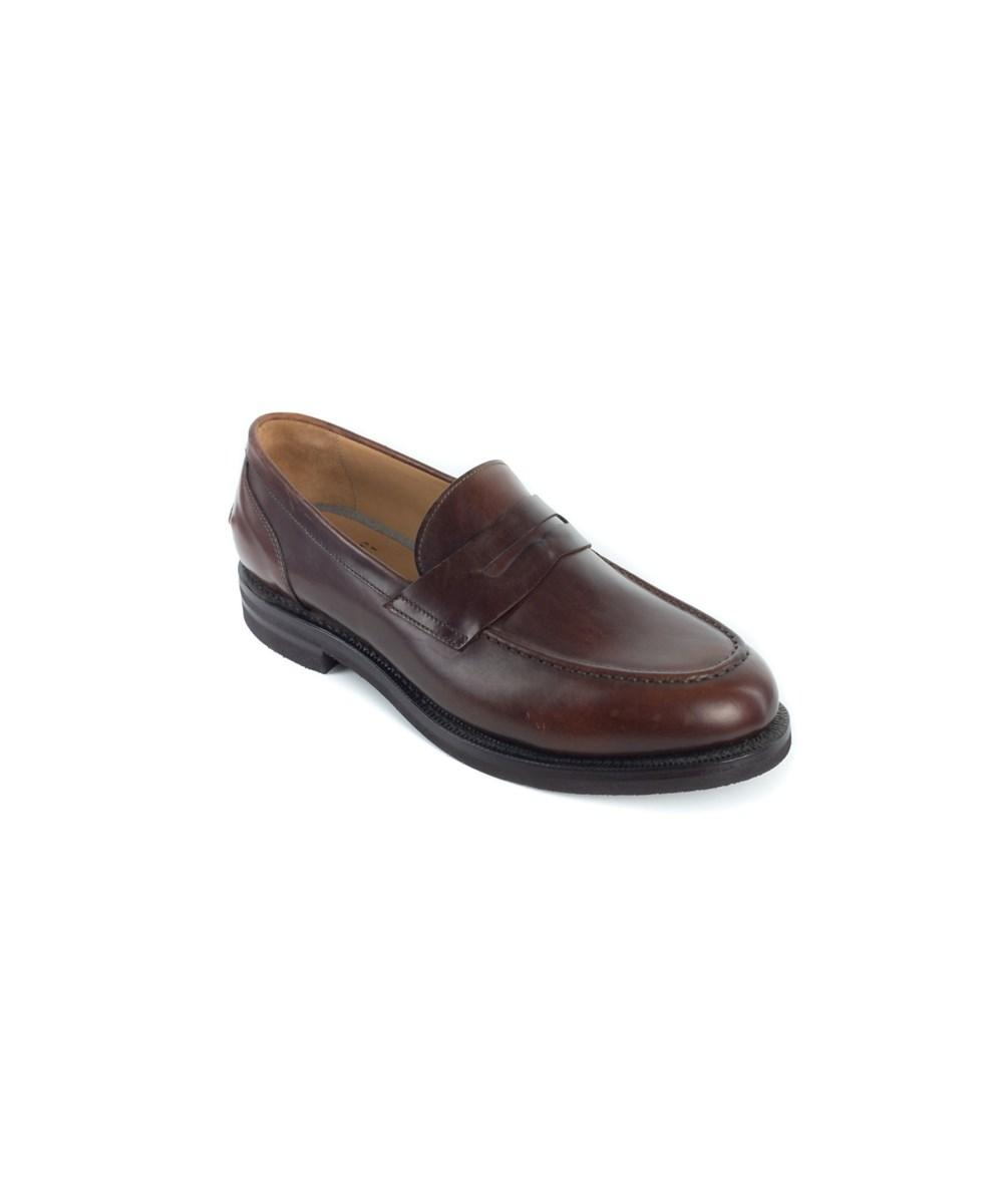 Brunello Cucinelli Men's Brown Leather Penny Loafers