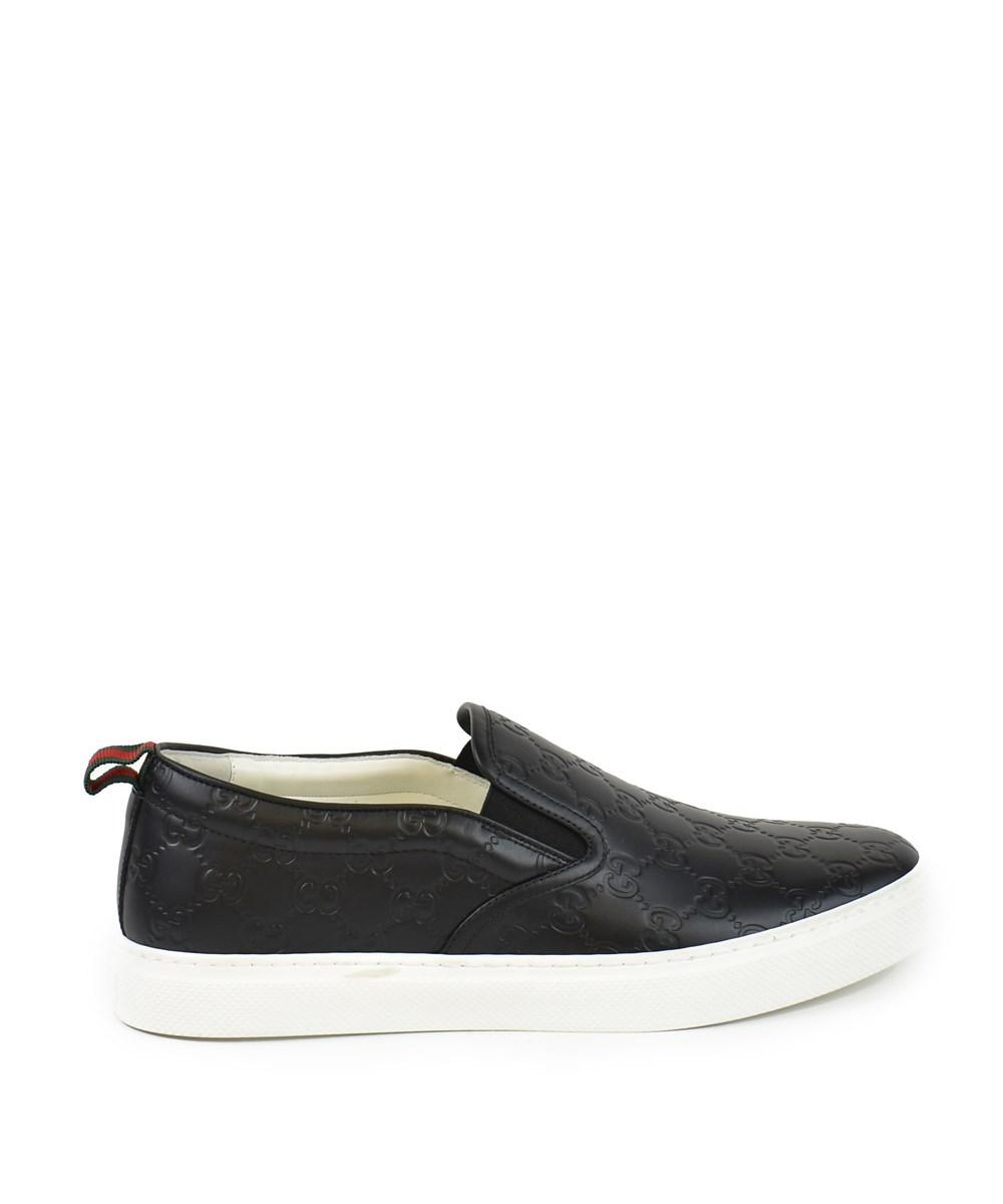 Gucci Signature Leather Slip-on Sneaker In Black