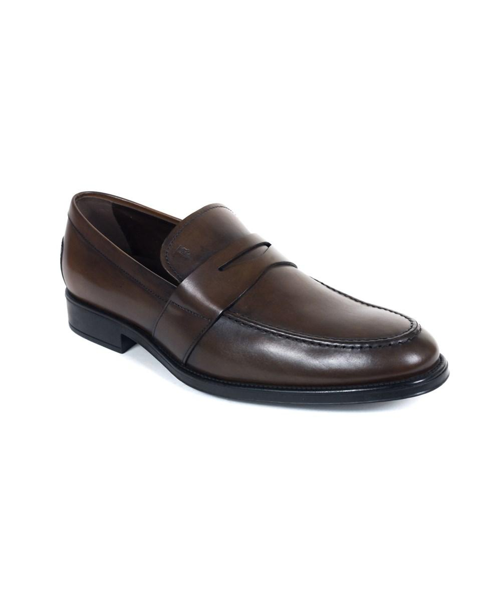 Tod's Men's Classic Brown Leather Penny Loafers