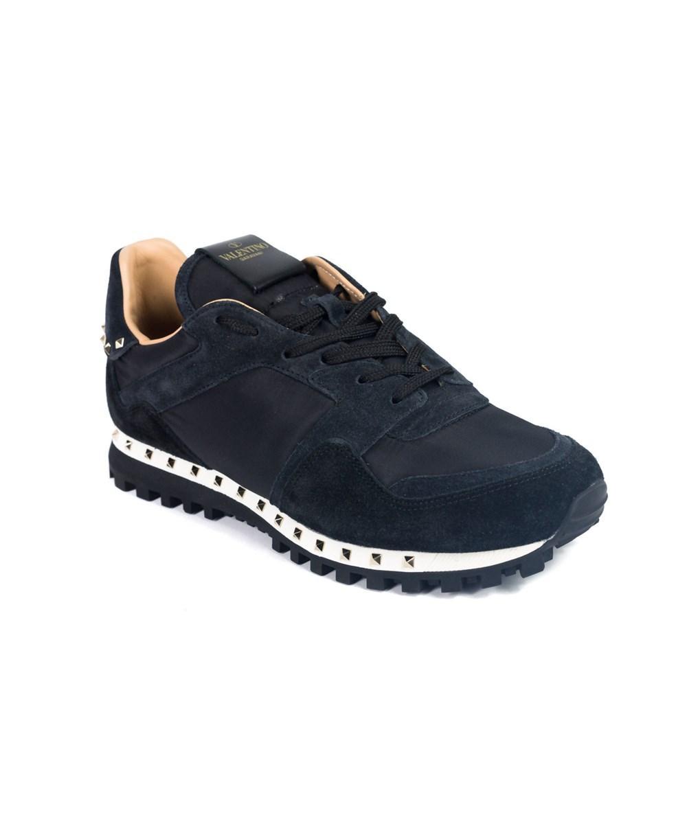 Valentino Garavani Mens Black Camo Rockstud Sneakers