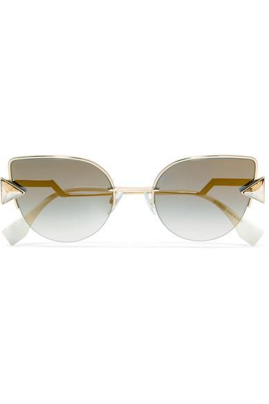 8db18c010ea Fendi Embellished Cat-Eye Gold-Tone Mirrored Sunglasses