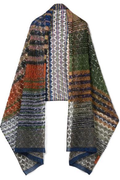 Missoni Metallic Crochet-knit Scarf In Blue