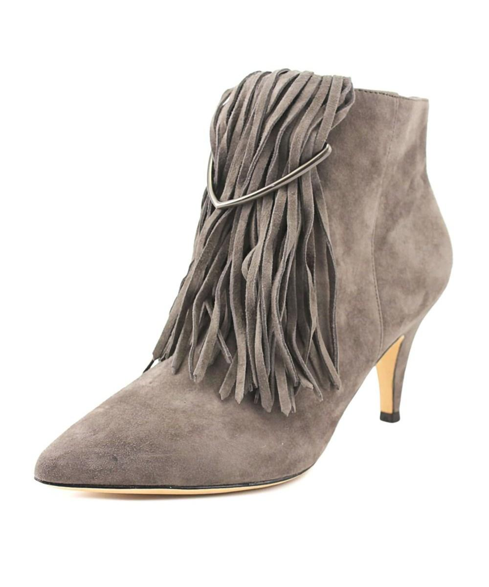 Brian Atwood Perri Women  Pointed Toe Suede Gray Bootie In Grey