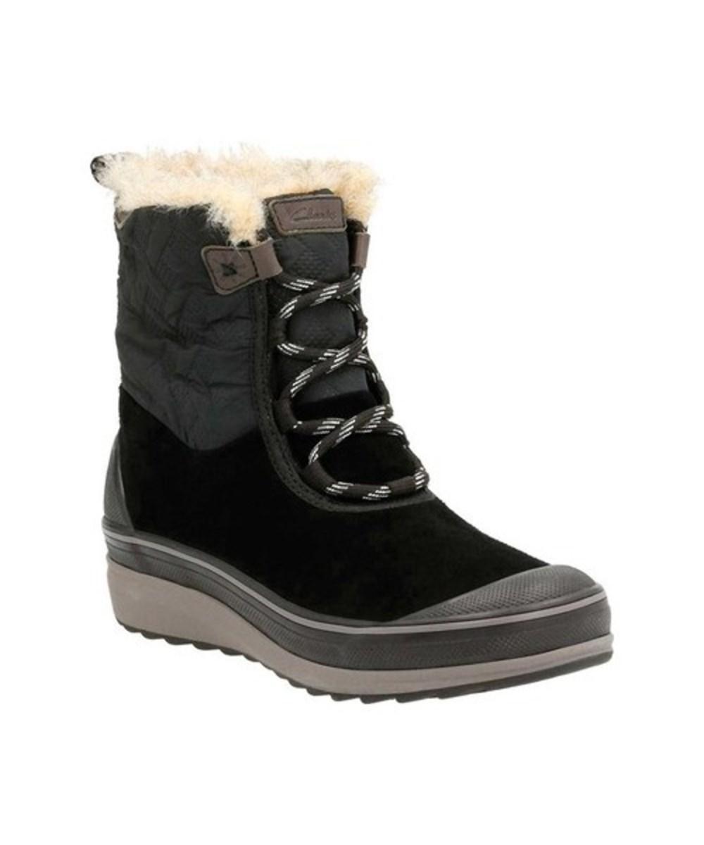 Clarks Women's   Muckers Mist Low Waterproof Boot In Black Cow Suede/textile