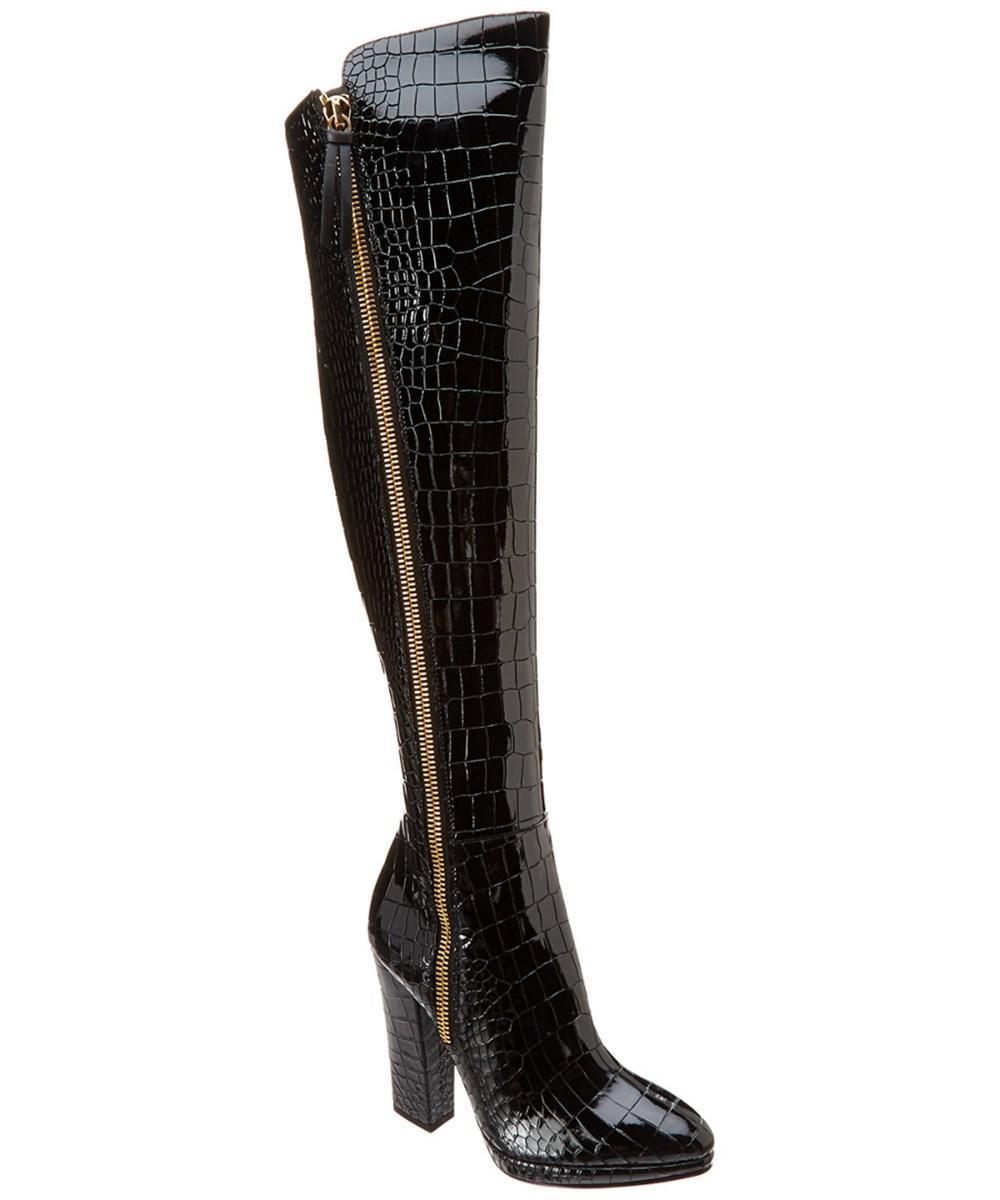 Giuseppe Zanotti Croc Embossed Patent Over-the-knee Boot In Black