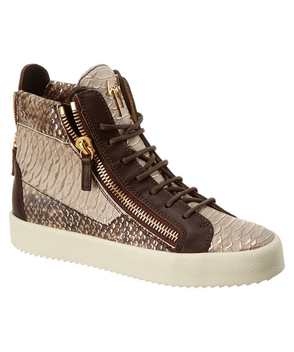 Giuseppe Zanotti Snake-embossed Leather Sneaker In Beige