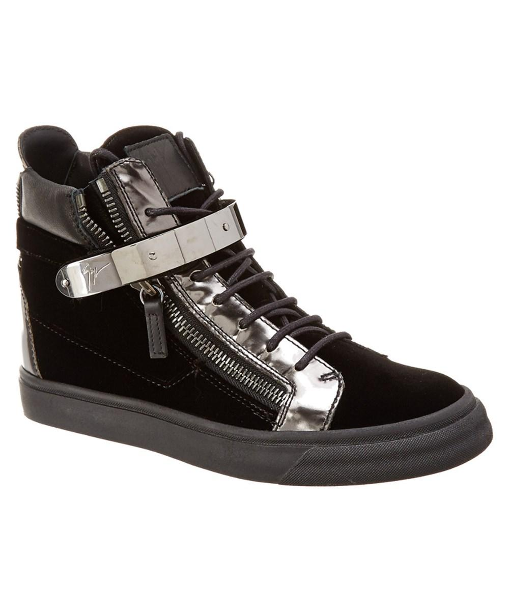 Giuseppe Zanotti Velvet Sneaker In Black Velvet