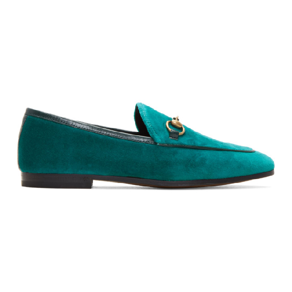 Gucci New Jordaan Velvet Loafer In 4470 Pavone