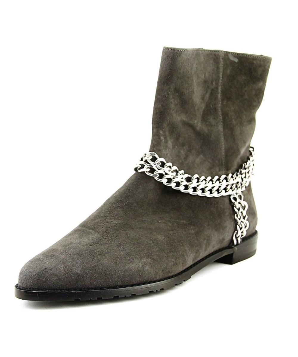 Stuart Weitzman Chainit Women  Pointed Toe Suede Gray Bootie In Grey