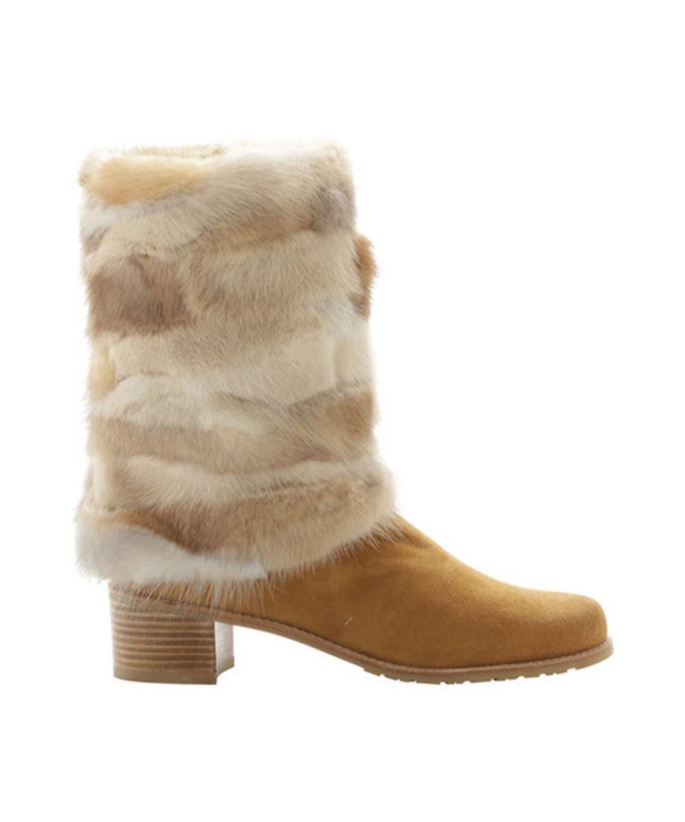 Stuart Weitzman Women's   Blizzard Mink Fur Boot Camel Minkmania Fur/suede Size