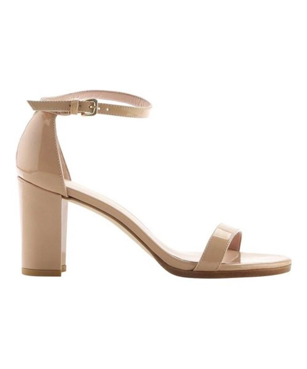 Stuart Weitzman Women's   Nearlynude Aniline Leather Block-heel Sandal In Adobe Aniline Leather