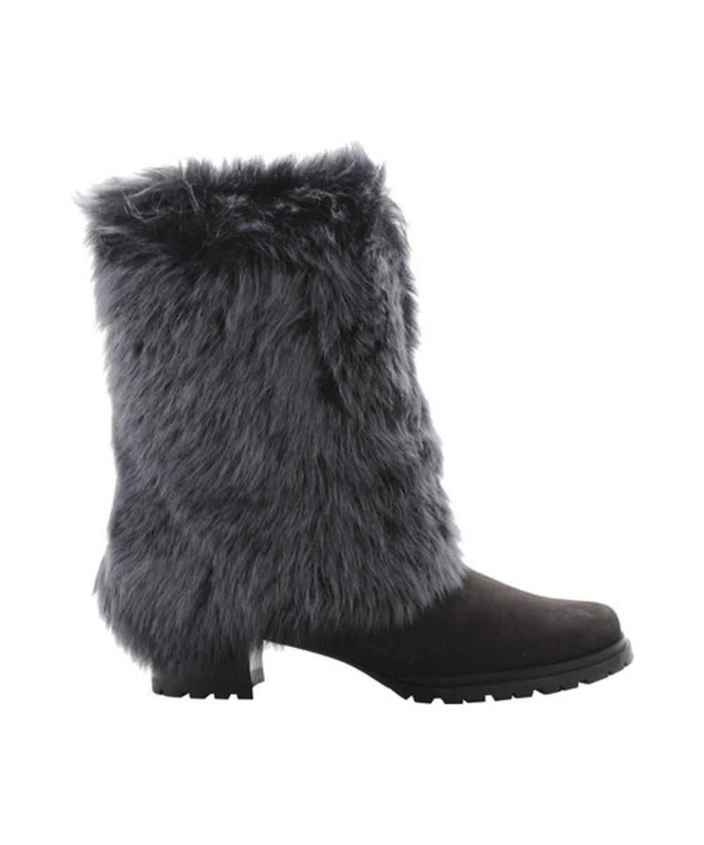 Stuart Weitzman Women's   Blizzard Sheep Fur Boot In Gray Sheep Fur/anthracite Suede