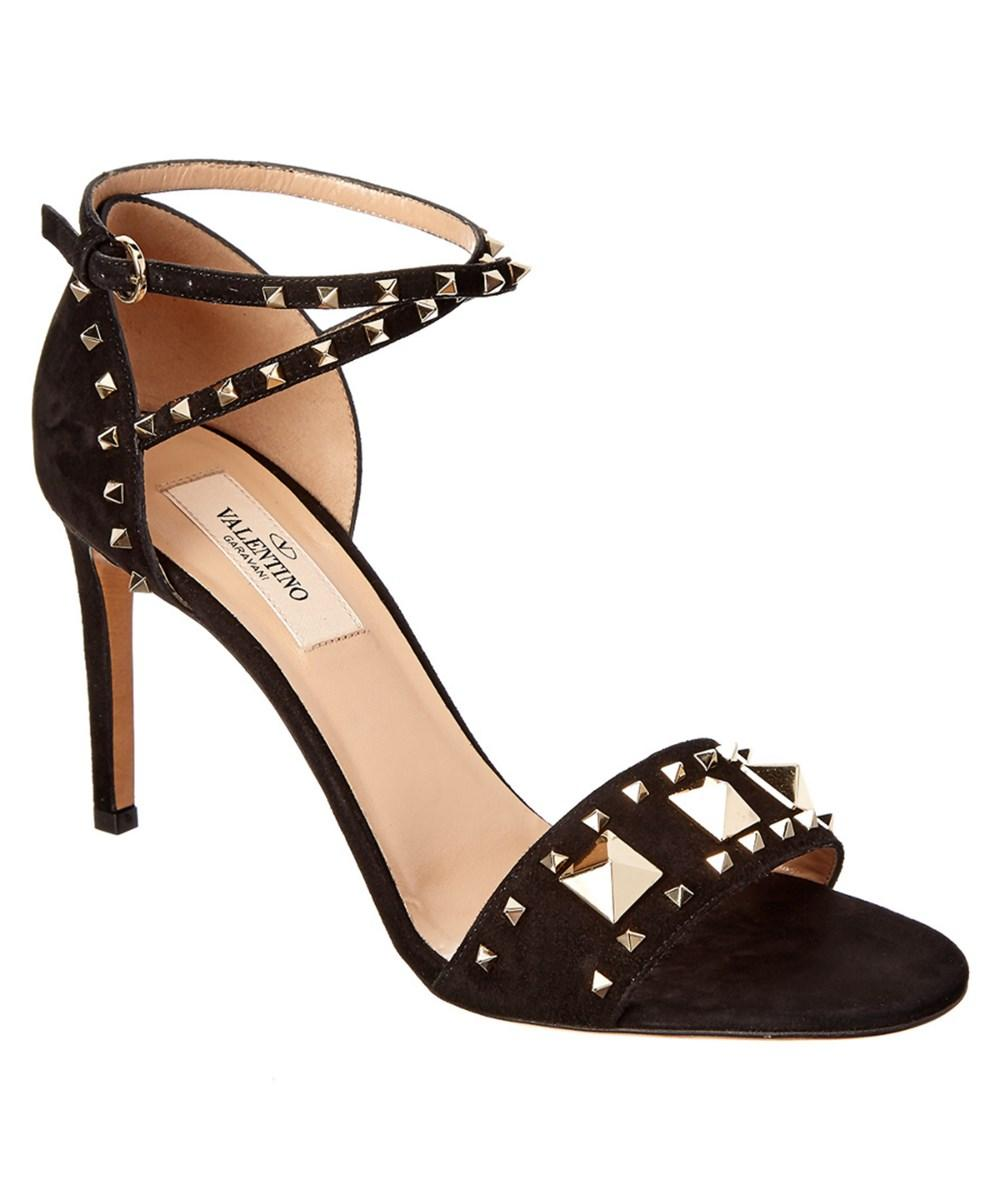 Valentino Lovestud Suede Sandal In Black