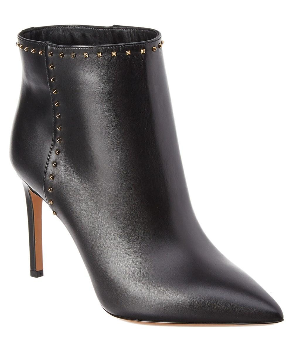 Valentino Rockstud Leather Bootie In Black