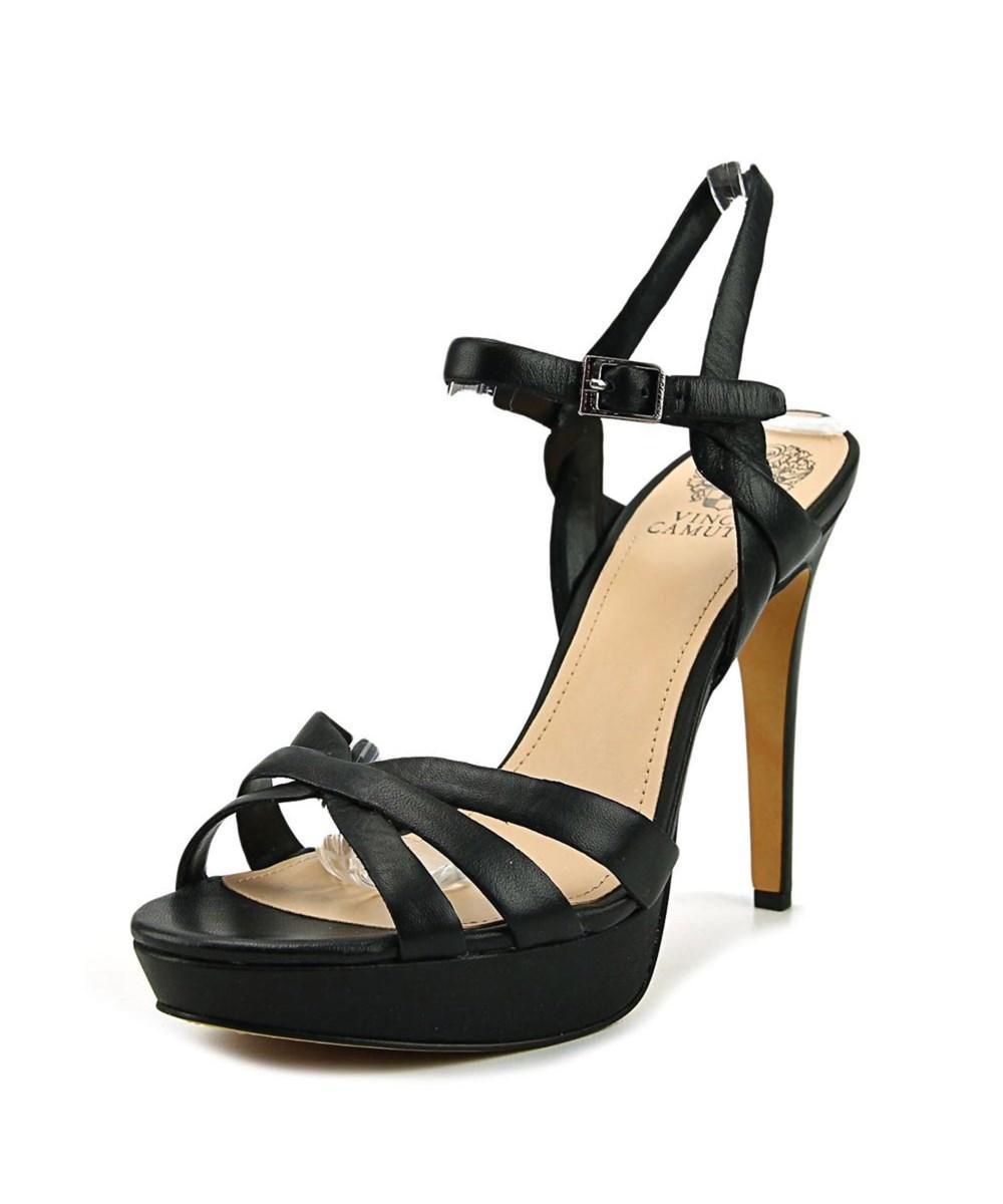 Vince Camuto Jessamae Women  Open Toe Leather Black Platform Sandal