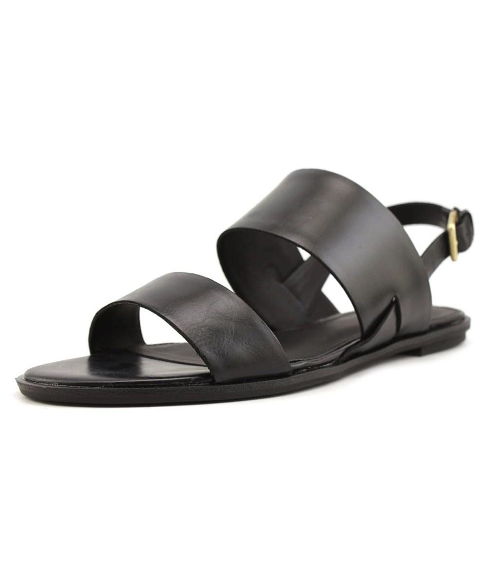 Calvin Klein Uni  Women  Open-toe Leather Black Slingback Heel