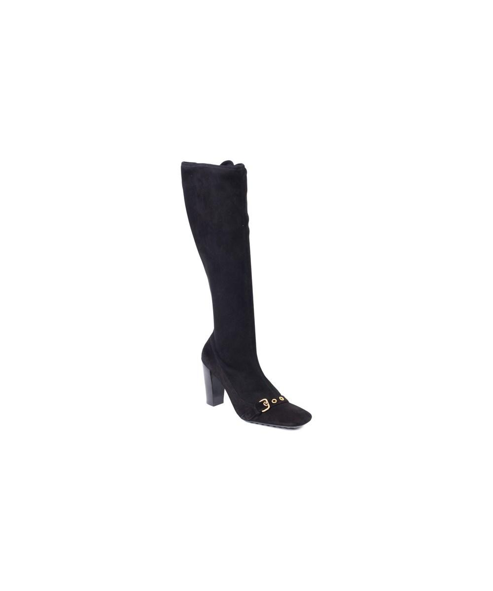Car Shoe Womens Black Buckle Knee High Suede Boots