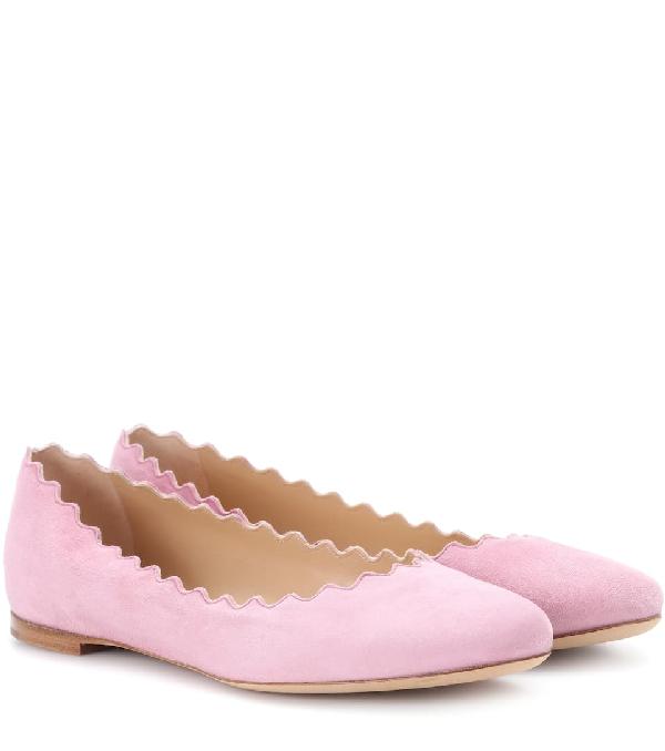 ChloÉ Lauren Suede Ballerinas In Pink