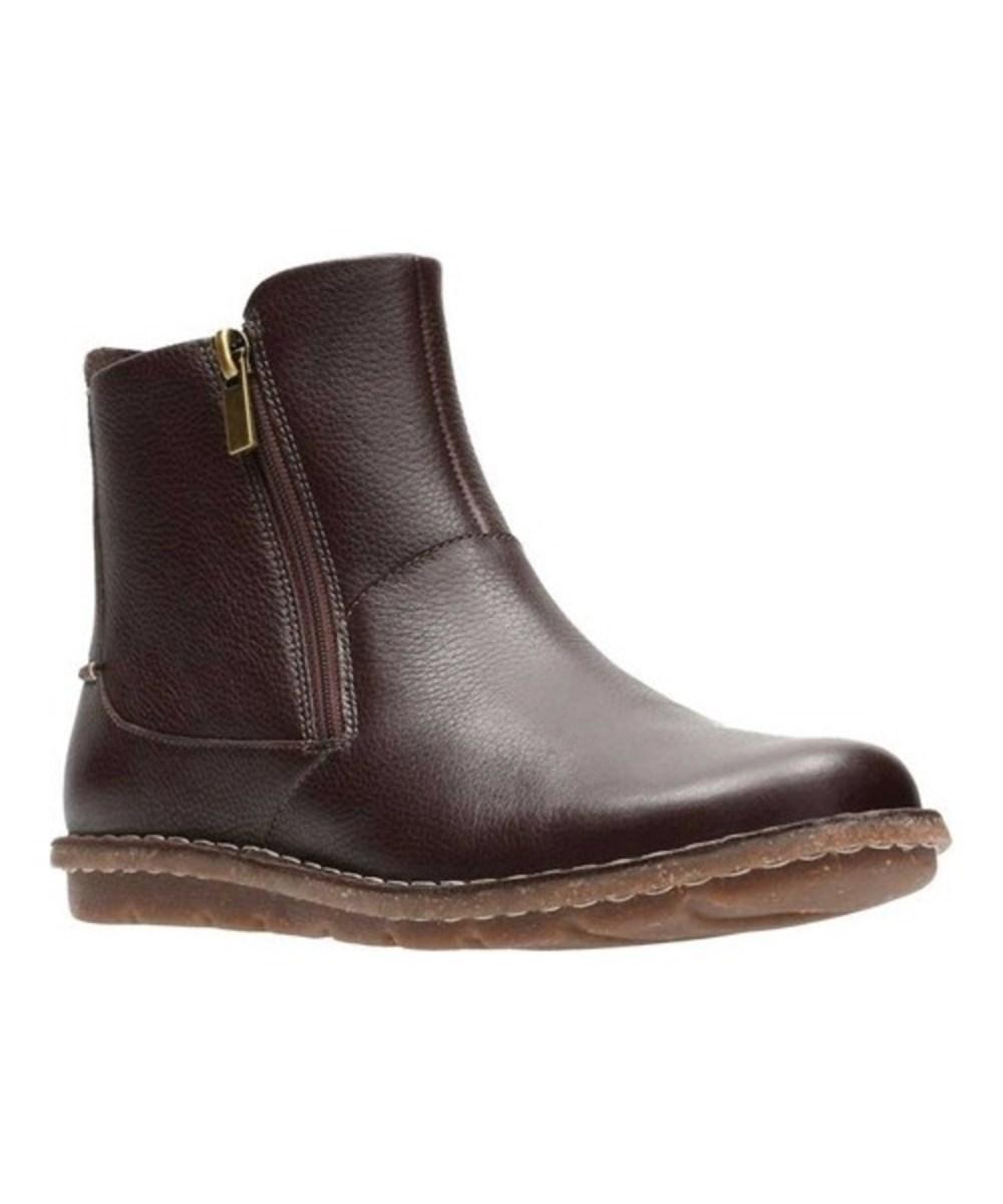Clarks Women's   Tamitha Flower Ankle Boot In Dark Brown Full Grain Leather