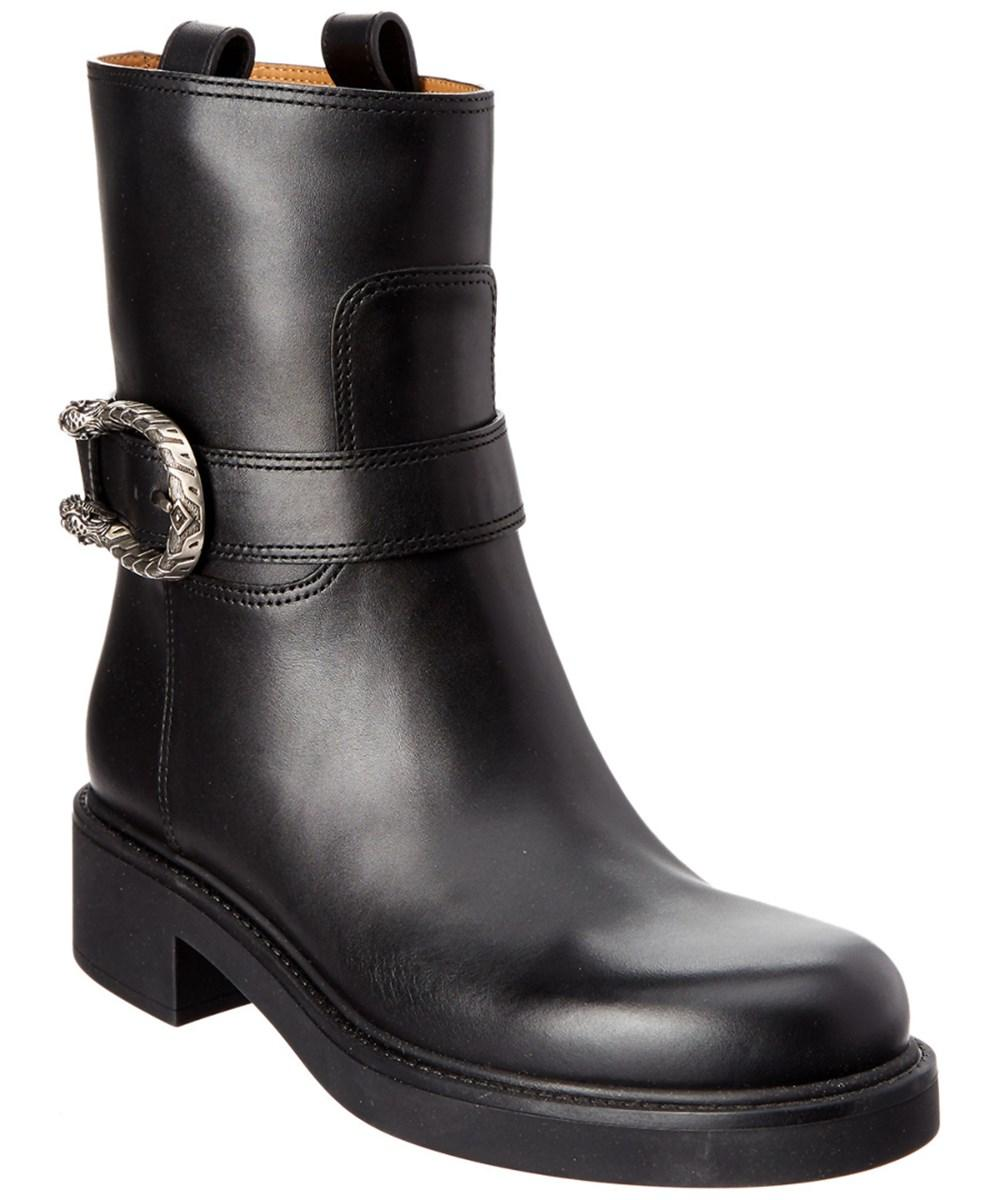 Gucci Dionysus Leather Ankle Boot In Black