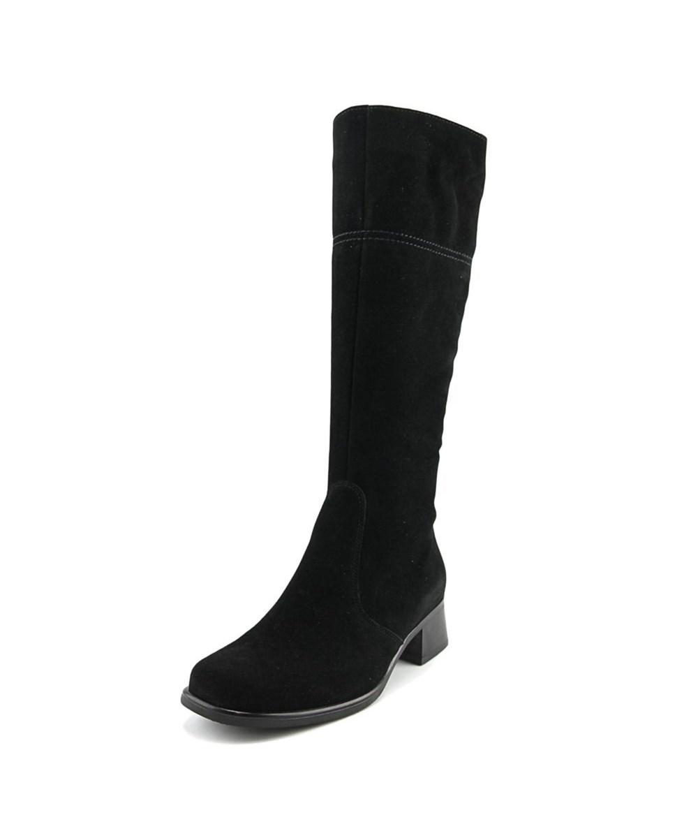 La Canadienne Laren   Round Toe Suede  Knee High Boot In Black