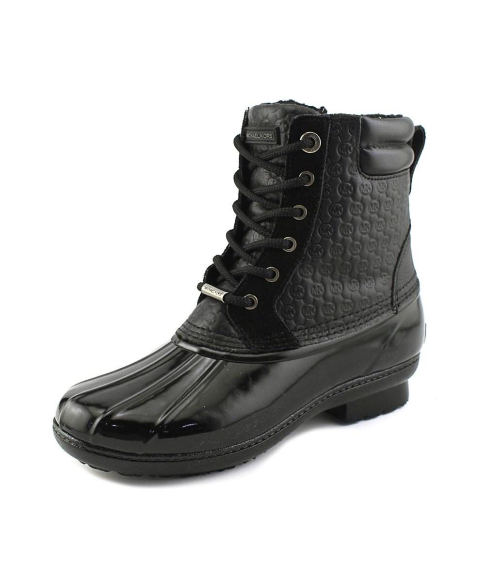 Michael Michael Kors Easton Women  Round Toe Leather Black Rain Boot
